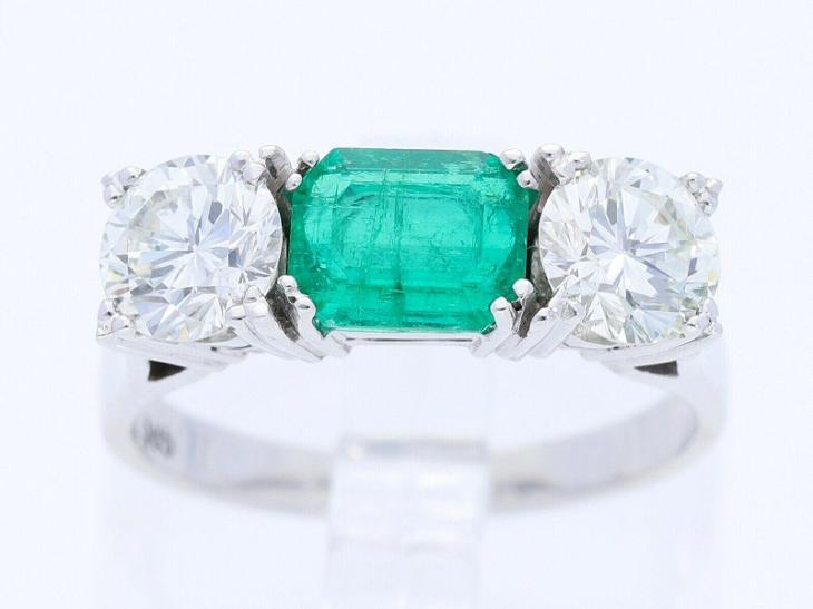 Vintážní prsten/smaragd+dia 3,0 ct./14 k./vel.55