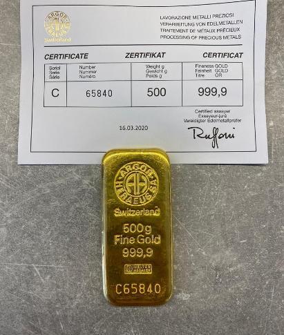 Zlatý investiční slitek 500g Argor-Heraeus Švýcarsko