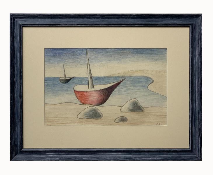 Zrzavý Jan (1890-1977), Bárky v zátoce, pastel